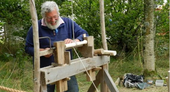 Operating a pole lathe