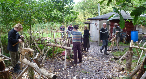 Students on woodland management course